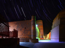 Khiva. Ancient town of Itchan Kala at night with star trails. The city of Khiva, Uzbekistan royalty free stock photo