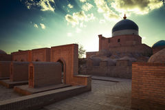 Khiva. Ancient town of Itchan Kala at sunset. The city of Khiva, Uzbekistan royalty free stock image