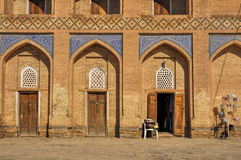 Khiva. Facade of house in Khiva, Uzbekistan stock photo