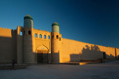 Khiva. Kohna Ark at sunrise in the ancient city of Itchan Kala, Khiva, Uzbekistan royalty free stock photos
