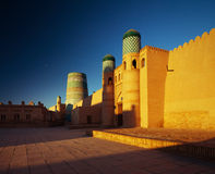 Khiva. Kohna Ark at sunrise in the ancient city of Itchan Kala, Khiva, Uzbekistan stock photography