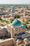 Khiva mosque. Beautiful large islamic mosque in Khiva, Uzbekistan, seen from air stock photography