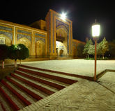 Khiva. Oriental building with trees in the yard at night.The city of Khiva, Uzbekistan stock photo