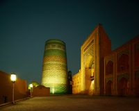Khiva. Oriental buildings of old city of Itchan Kala. Khiva, Uzbekistan royalty free stock photo