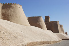 Khiva, Silk Road, Uzbekistan. Wall of the ancient city of Khiva, silk road, Uzbekistan, Central Asia Stock Images