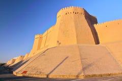 KHIVA, UZBEKISTAN: The city walls of Khiva at sunset royalty free stock photography