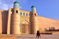 KHIVA, UZBEKISTAN: Entrance to the Kunya Ark in Khiva Old town stock photos