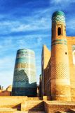 Khiva, Uzbekistan. October 13, 2015: The unique and unfinished Kalta Minor Minaret, covered with bright blue tiles, became the symbol of Khiva stock image