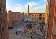 Khiva: market square on sunset. Khiva, Uzbekistan. Market square on sunset. 13 of September 2017 royalty free stock photography