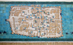 KHIVA, UZBEKISTAN - MAY 01, 2014: The map of Khiva on the ceramic tiles royalty free stock photo