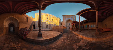 Khiva, Uzbekistan. Panorama of the yard of an ancient mosque in the city of Itchan Kala at sunny day, Khiva, Uzbekistan royalty free stock photo