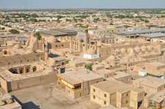 Khiva in Uzbekistan. Scenic aerial view of old town in Khiva, Uzbekistan with large palace royalty free stock photography