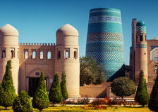 Khiva. Western gate (Ata Darvoza) to ancient town of Itchan Kala. Khiva, Uzbekistan stock images