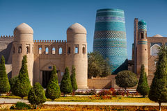 Khiva. Western gate (Ata Darvoza) to ancient town of Itchan Kala. Khiva, Uzbekistan royalty free stock photography