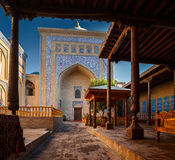 Khiva. Yard of ancient mosque in the city of Itchan Kala, Khiva, Uzbekistan royalty free stock photos
