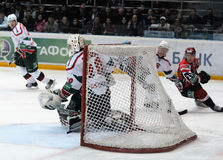 KHL hockey Automobilist vs AK Bars Stock Images