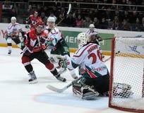 KHL hockey Automobilist vs AK Bars stock photo