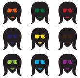Kühle Frauen ` s Gesichts-Schattenbilder Lizenzfreies Stockfoto