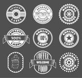 Kühle Vektorweinlese labes Logogestaltungselemente, Qualitätsprodukt, Naturprodukt, Kaffeeaufkleber Lizenzfreies Stockbild