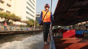 Khlong Boats in Bangkok stock video footage