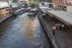 Khlong channel boat station in Bangkok Royalty Free Stock Photography