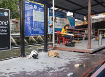 Khlong channel boat station in Bangkok Royalty Free Stock Images