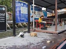 Khlong channel boat station in Bangkok Royalty Free Stock Images