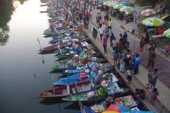 The Khlong Hae Floating Market in Songkhla Stock Images