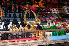 Khlong Lab Mayom Floating Market. Showcase with Souvenirs for tourists stock image