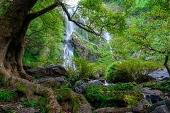 Khlong Lan瀑布是美丽的瀑布在雨林密林泰国 免版税图库摄影