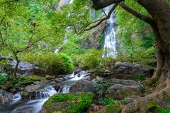 Khlong Lan waterfall is a beautiful Waterfalls in the rain forest jungle Thailand stock image