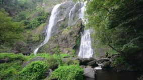 Khlong lan waterfall , famous natural tourist attraction in Kampang Phet province ,Thailand. stock video footage