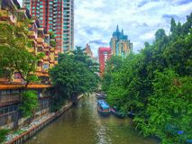 Khlong Saen Saeb. Is a canal in city, Bangkok. Use for public transport by an express boat Royalty Free Stock Photography