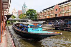 Khlong Saen Saep Express Boat. BANGKOK,THAILAND - APR 3 : The Khlong Saen Saep Express Boat  arrives at a pier on April 3, 2013 in Bangkok, Thailand Royalty Free Stock Images