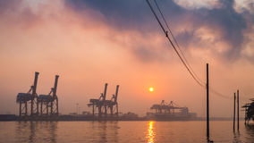 Khlong Toei port among the mist in the morning Royalty Free Stock Photography