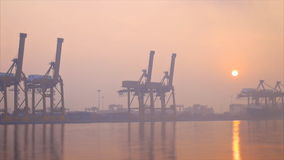Khlong Toei port among the mist in the morning. Speed video of Khlong Toei port,Bangkok Thailand,among the mist in the morning stock video