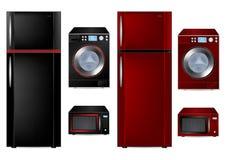 Kühlraum, Waschmaschine und Mikrowelle Stockbilder