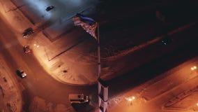 Εναέρια σημαία KHMAO-Ugra Ρωσία άποψης στο κοντάρι σημαίας Σημαία που κυματίζει στον αέρα απόθεμα βίντεο