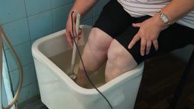 KHMELNIK, UKRAINE, JULY 7, 2017: Sanatorium treatment. Chamber baths with ultrasound in radon water. stock video footage