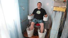 KHMELNIK, UKRAINE, JULY 7, 2017: Sanatorium treatment. Chamber baths with ultrasound in radon water. stock video