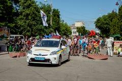 Khmelnitsky, Ucrania - 31 de mayo de 2015 El coche de la nueva policía e foto de archivo