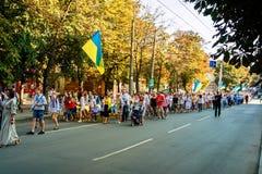 Khmelnitsky, Ukraine - 24. August 2018 Leute in traditionellem Ukr lizenzfreies stockfoto
