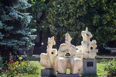 KHMELNITSKY, UKRAINE - 29 JUILLET 2017 : Motif ukrainien, sculpteur Photos libres de droits