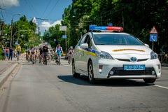 Khmelnitsky, Ukraine - May 31, 2015. The car of the new police e royalty free stock photo