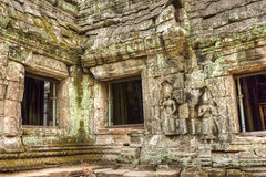 Khmer αρχαίος βουδιστικός ναός Prohm Angkor στο δάσος ζουγκλών διάσημο Στοκ Εικόνες