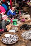 Khmer καθαρισμός γυναικών και ψάρια πώλησης στην αγορά τροφίμων Στοκ Εικόνα