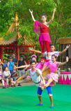 Khmer actors during the theatrical performance. China villiage. Acrobatics Stock Images