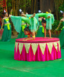 Khmer actors during the theatrical performance. China villiage. Acrobatics Royalty Free Stock Images