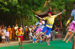 Khmer actors during the theatrical performance. China villiage. Here we are! Stock Photos