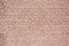 Khmer Alphabets On The Ancient Wall Royalty Free Stock Photos